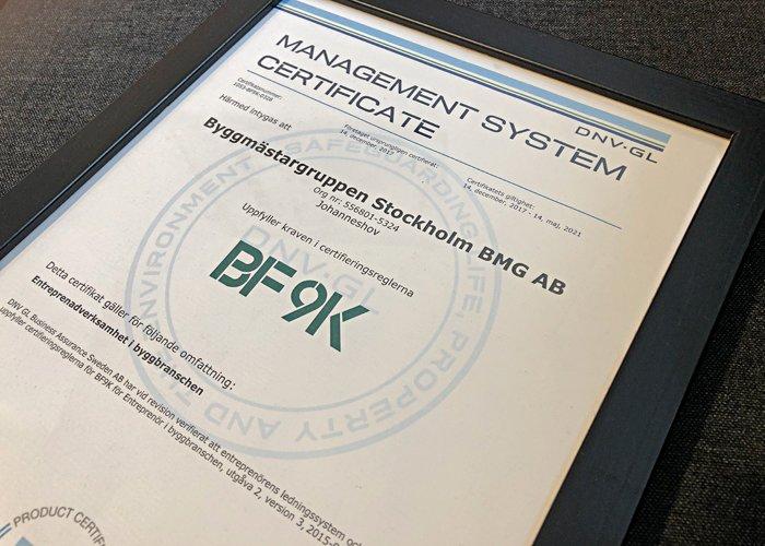 Byggmästargruppen har KMA-policy och är sedan december 2017 certifierade i enlighet med BF9K - Byggföretagens verksamhetssystem.