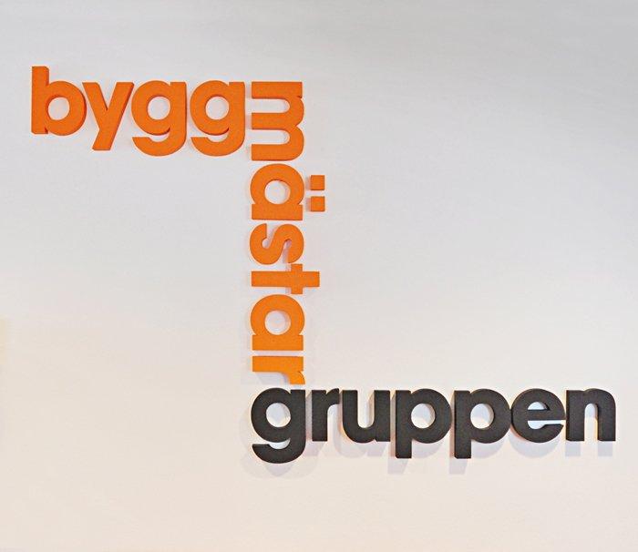 Byggmästargruppen logo i entren.