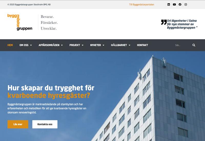 Användarvillkor - Faksimil av Byggmastargruppens webbplats.