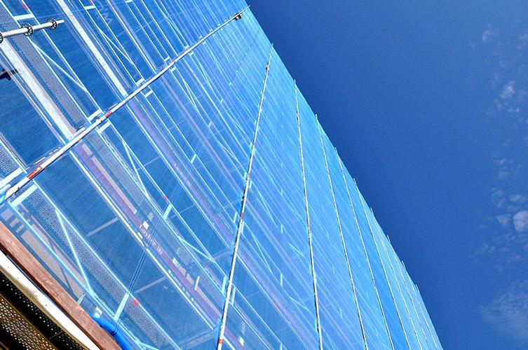 ROT-projekt, Fasad med ställningsväv